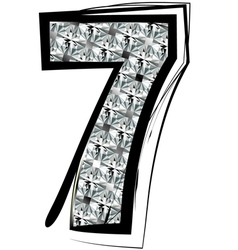Diamond font number 7 vector