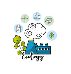 Factory pollution with ecological plant and leaves vector