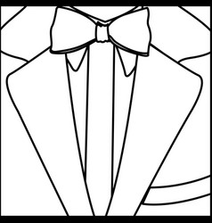 Figure elegant suit with tie bow icon vector