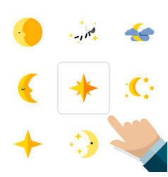 Flat icon night set of midnight star bedtime and vector