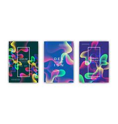 Fluid color covers set colorful bubble shapes vector