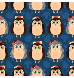 Funny cartoon seamless pattern of hedgehogs vector