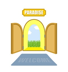 Gates of paradise on a white background entrance vector