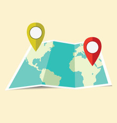 Geographical world map pins vector