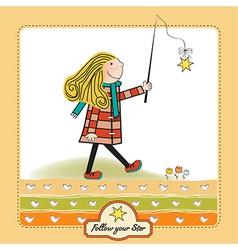 Girl following a star vector
