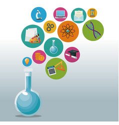 glass beaker for laboratory with bubbles icons vector image vector image