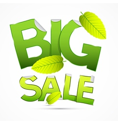 Green Big Sale Sticker - Label with Leaves on vector image vector image