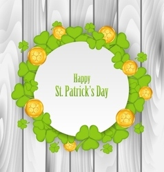 Greeting Card with Clovers and Golden Coins for St vector image vector image