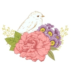 Hand drawn bird with flowers vector image vector image