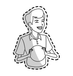 happy boy holding ball icon image vector image vector image