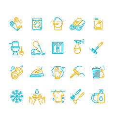 household and cleaning tools color thin line icon vector image vector image
