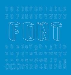 Line Framework Font 3D design vector image