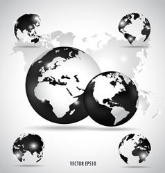Modern globes and world map vector image