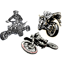 motorcycle trio vector image