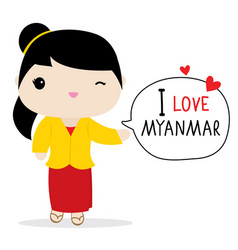Myanmar women national dress cartoon vector