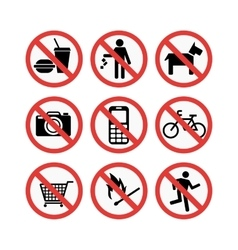 prohibiting signs set vector image vector image