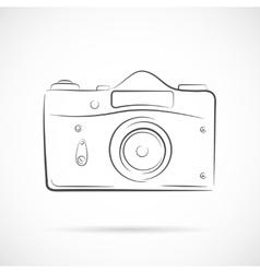 Retro Photocamera Outline Icon vector image vector image