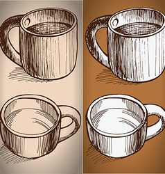 set of coffe mugs drawing sketch style vector image