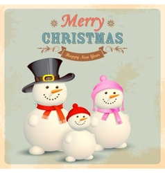 Snowman Family in Retro Christmas Background vector image