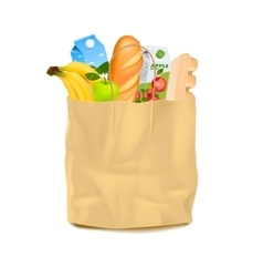 Supermarket carrier paper bag with food vector