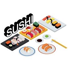Sushi set restaurant vector