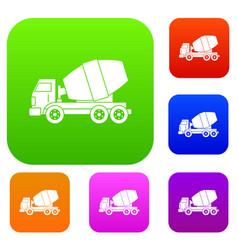 truck concrete mixer set color collection vector image