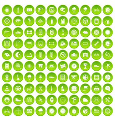 100 motorsport icons set green circle vector
