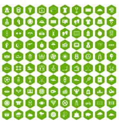 100 tennis icons hexagon green vector