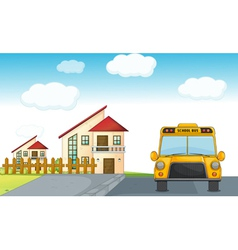A school bus and building vector
