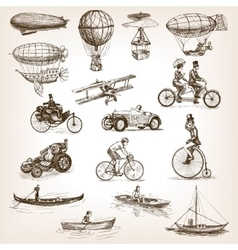 Vintage transport set sketch style vector