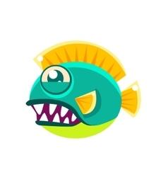 Agressive round turquoise fantastic aquarium vector