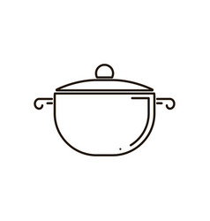 isolated icon of pot with glass lid side view in vector image