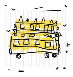 Back to school concept cute sketch of school bus vector