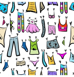 Clothes sketch seamless pattern for your design vector