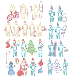 Hand drawn set of doodle shapes of humans vector