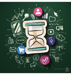 Communication collage with icons on blackboard vector image
