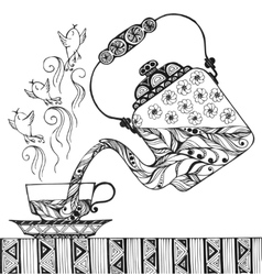 Teapot and cup with steam in form of birds vector