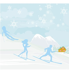 People go skiing in the winter day vector