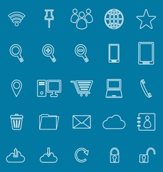 Internet line icons on blue background vector
