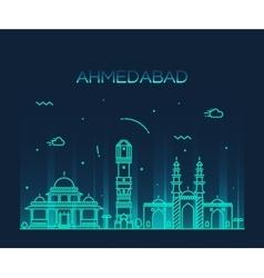 Ahmedabad skyline linear vector