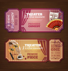 Theatre tickets banners set vector