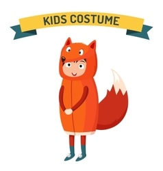 Fox kid costume isolated vector