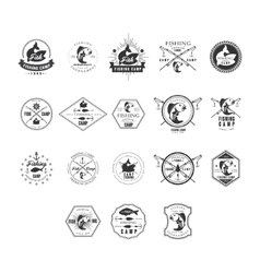 Fishing retro design insignias logotypes set vector