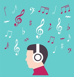 Man profile with headphone music vector