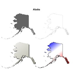 Alaska outline map set vector