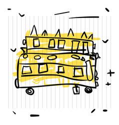 back to school concept cute sketch of school bus vector image