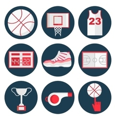 Basketball flat icons set vector image