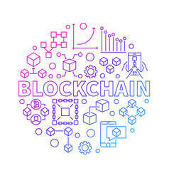 Blockchain technology colorful line round vector