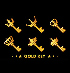 cartoon golden key with crown vector image vector image