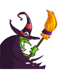 cartoon old ugly funny witch in hat with a broom vector image vector image